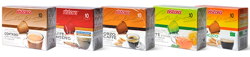 Nespresso Kompatible Kapseln Ristora: Kafee, Tee, Gerste, Ginseng